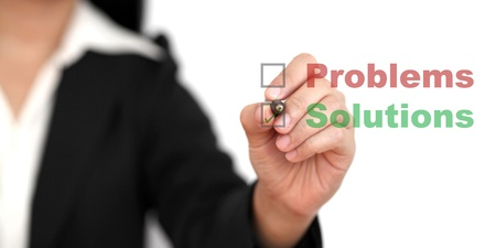 solutions: business Problem solutions (selective focus at pen)