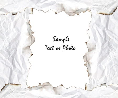 creasy: burnt edge paper with space for text on white background Stock Photo