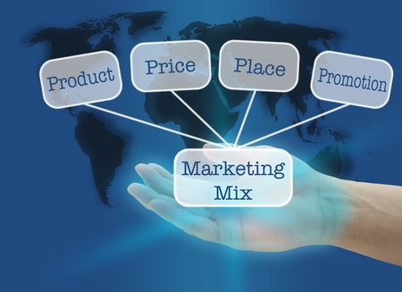 marketing mix: man hand hold business marketing mix concept with world map background