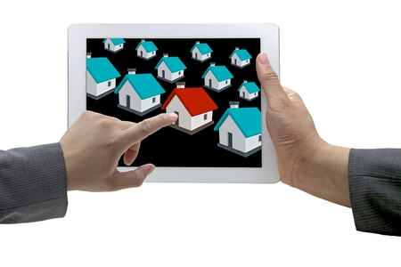 real estate market: business man Finding new house in real estate market with electronic commerce concept Stock Photo