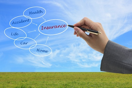 life partners: asian businessman write Insurance on virtual interface