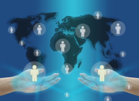 hand hold person World Social Network Communication Concept with world map photo