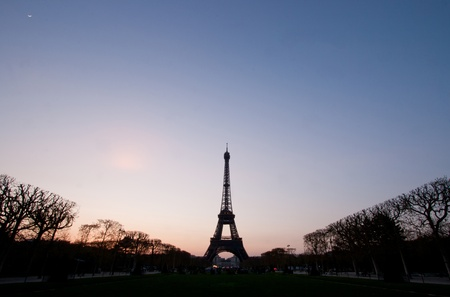 Silhouette of Eiffel Tower in the evening. The Eiffel tower is the most visited monument of France. Stock Photo - 11267702