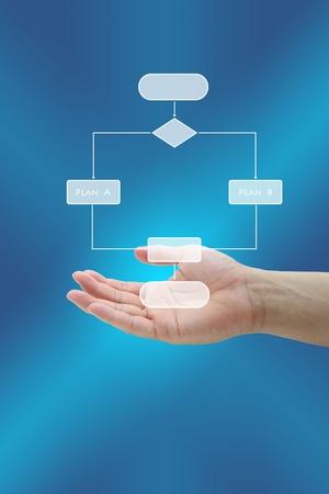 subset: Hand hold Business Plan Decision Analysis Stock Photo