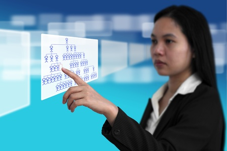 Business Woman Select Job from Electronic Virtual Screen for Recruitment Concept Stock Photo - 11267739