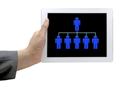 hand hold online organiztion chart on touch screen for business workforce concept photo