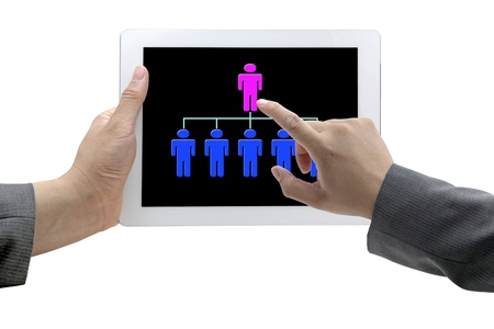 man hand touch on CEO on Tablet for recruitment concept Stock Photo - 11559623