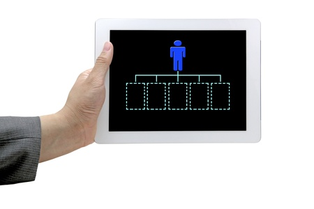 man hand hold technology tablet with blank organization chart for business recruitment concept photo