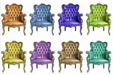 collection of Armchair genuine leather classical style sofa photo