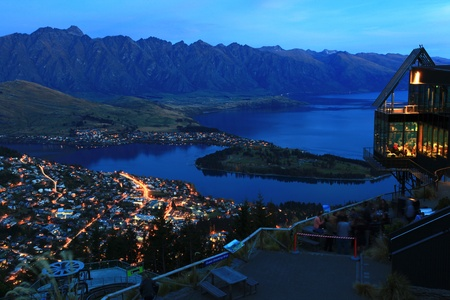 landscape of Queenstown City New Zealand at Night photo