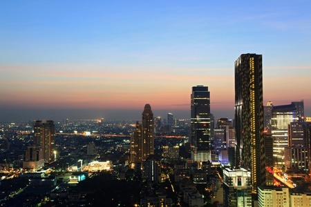 technoligy: Aerial view of Bangkok Skyline cityscape Thailand