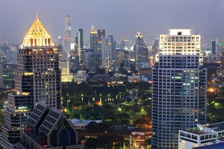 technoligy: Aerial view of Bangkok Skyline cityscape  and garden Thailand