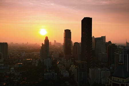 technoligy: Aerial view of Bangkok Skyline cityscape with sunset Thailand