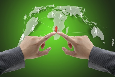 Business Hand Team Touch on Social Network Concept with World Map photo