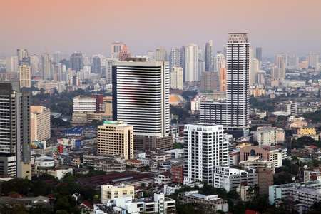Aerial view of Bangkok Skyline cityscape at Evening Thailand