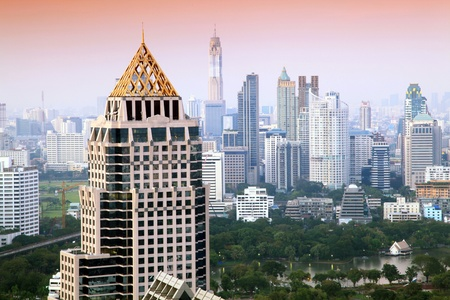 Aerial view of Bangkok Skyline cityscape with garden  Evening Thailand