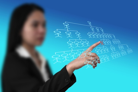 manager selecting employee who fired from virtual interface for human resource concept Stock Photo - 11772268