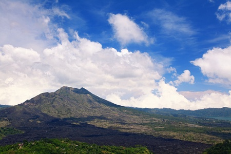 Batur volcano landscape from Kintamani crater Bali Indonesia photo