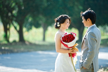 emotional couple: romantic bride and groom,each other seeing eyes  Stock Photo