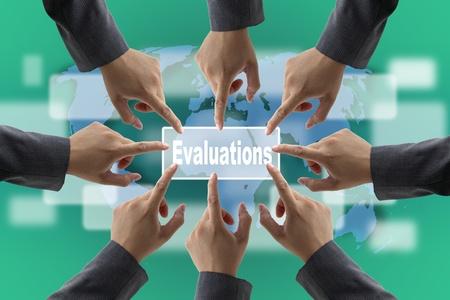 consensus: A diverse business teamwork do World Performance Evaluation Audit Stock Photo