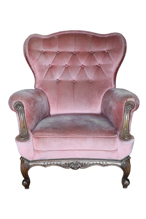 Vintage Armchair Pink Fabric Classical Style Sofa with clipping path Stock Photo - 11866969