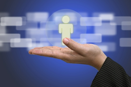 Hand Hold Person using as Life Insurance and Business Risk Concept Stock Photo - 11866994