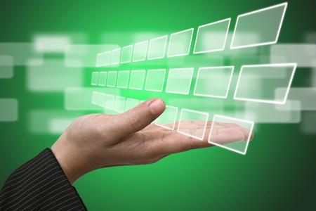 Business Hand hold blank Technology Input Screen Interface  photo