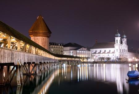 lucerne: Famous wooden Chapel bridge foot walkway in Lucerne, Switzerland