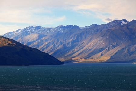 Mountain landscape of Lake Hawea near Queemstown in New Zealand photo