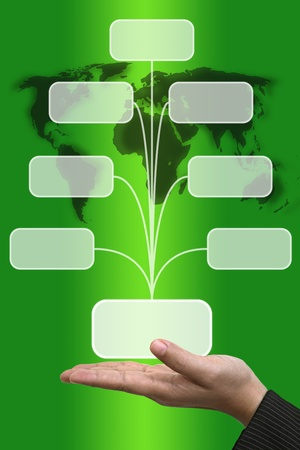 Business Hand hold blank Technology Input Screen Button Interface photo