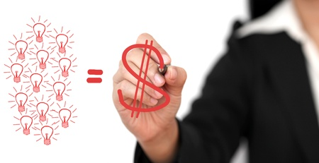 business Hand Writing Dollar Sign From Creativity Team for Brainstorming is Money Concept Stock Photo - 11911296