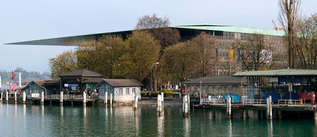 swiss culture: Landscape of Lucern Lake and Railway Station Dock, Switzerland