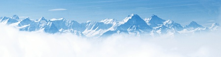 Panorama of Snow Mountain Landscape with Blue Sky from Pilatus Peaks Alps Lucern Switzerland photo