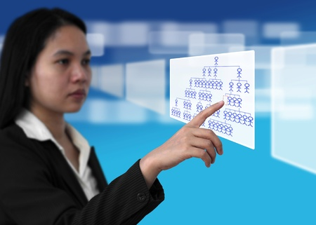 input devices: Business Woman Select Job from Electronic Virtual Screen for Recruitment Concept