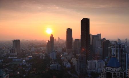 technoligy: Aerial view of Bangkok Skyline cityscape with sunset Thailand, Panorama Stock Photo