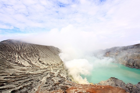 Crater of volcano Khava Ijen, Sulfur mine with Blue Sky in Java Island Indonesia. photo