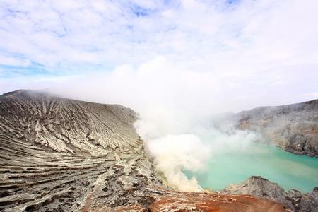 Crater of volcano Khava Ijen, Sulfur mine with Blue Sky in Java Island Indonesia. photo