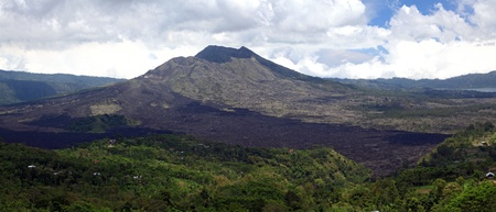 Panorama Batur volcano landscape from Kintamani crater Bali Indonesia photo
