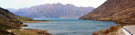Mountain landscape of Lake Hawea near Queemstown in New Zealand Panorama photo