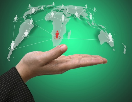 Business Hand Hold Person Connection on World Map using as Social Network Concept Stock Photo - 11991183