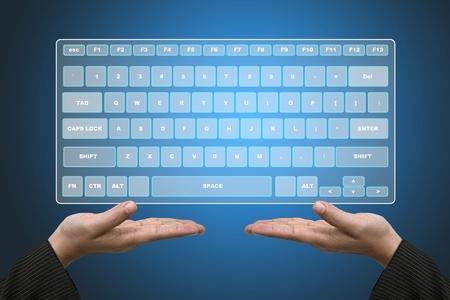 Business Hands Hold Technology Virtual Keyboard Interface photo