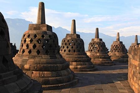 Architecture Borobudur Temple Stupa Row in Yogyakarta Java Indonesia.