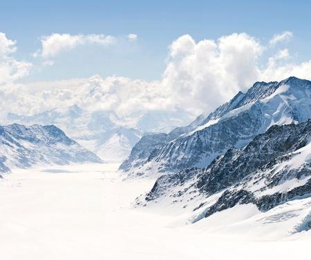 european alps: Panorama Scenic of Great Aletsch Glacier Jungfrau region,Part of Swiss Alps Alpine Snow Mountain Landscape at Switzerland.