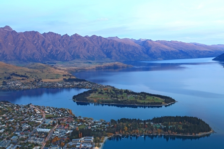 closeup of queenstown with lake Wakatipu from top at dusk. photo