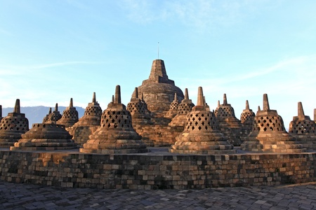 Architecture Borobudur Temple Stupa Ruin in Yogyakarta Java Indonesia.