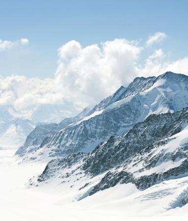 european alps: Great Aletsch Glacier Jungfrau region,Part of Swiss Alps Alpine Snow Mountain Landscape at Switzerland. Stock Photo
