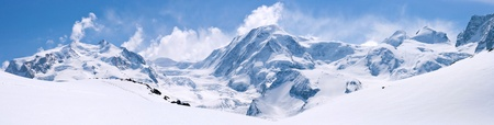 panorama view: Panorama of Snow Mountain Range Landscape with Blue Sky at Matterhorn Peak Alps Region Switzerland