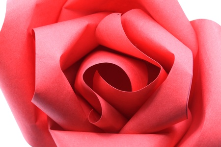 Macro shot of Rose Flower origami Paper Craft Isolated on white background photo