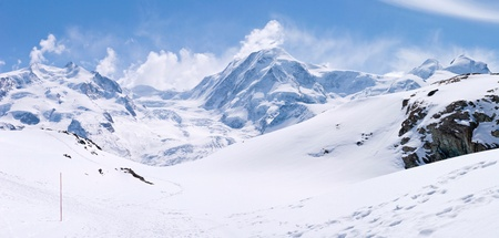 Panorama of Snow Mountain Range Landscape at Matterhorn Alps Alpine Region Switzerland photo