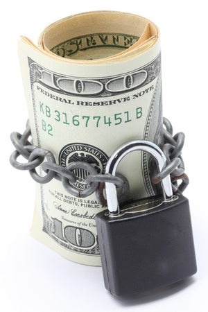 Dollars Banknote bills Cash Locked for Money Saving Insurance Concept photo